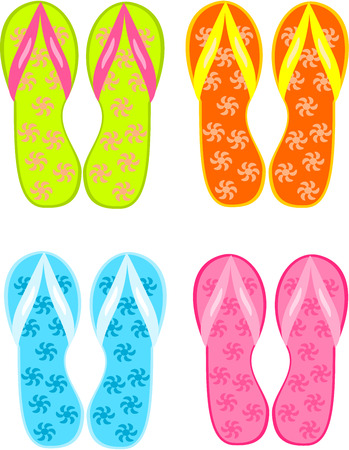 footware: Four pairs of colorful flipflops - beach sandals Illustration
