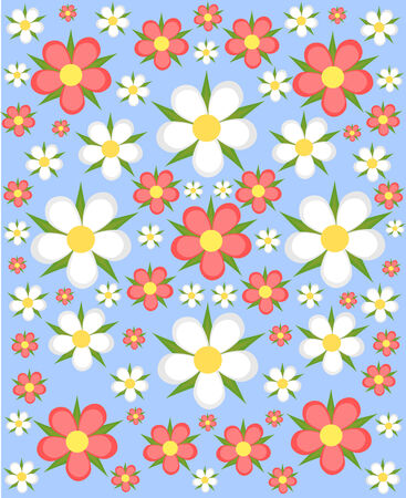 Floral background - white and pink flowers over blue Vector