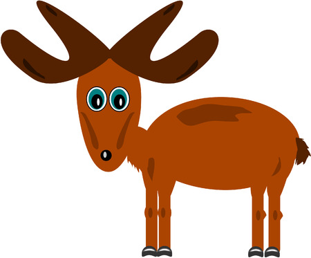 Cute moose over white Vector