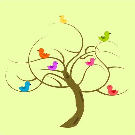 clumsy: Funny colorful birds on the bald tree