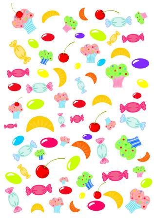 verscheidenheid aan kleurrijke achtergrond van snoep en snoep