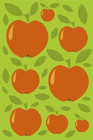 Wallpaper with red apples in vintage style Vector