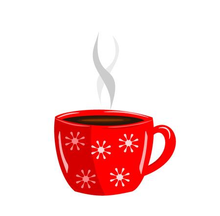 hot chocolate drink: Dinamizar rojo taza de caf� caliente