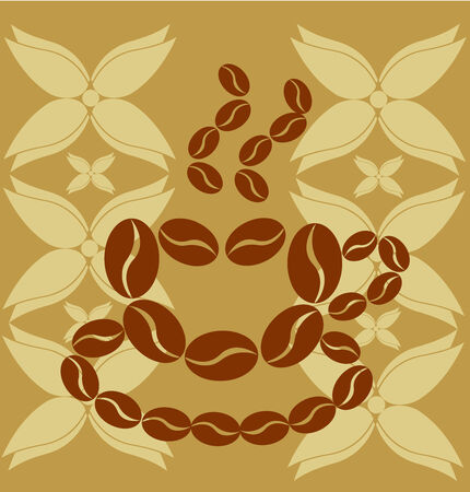 Symbolic coffee made of beans vintage illustration Vector