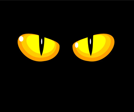 glowing skin: Black wild cat with yellow eyes  Illustration
