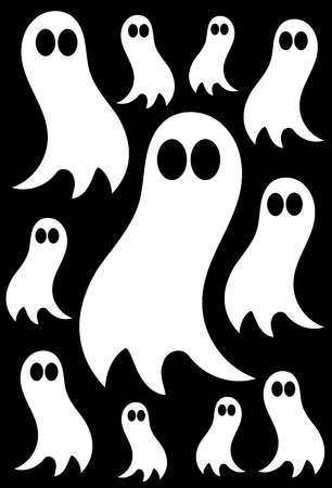 White ghosts over black background - halloween texture Vector