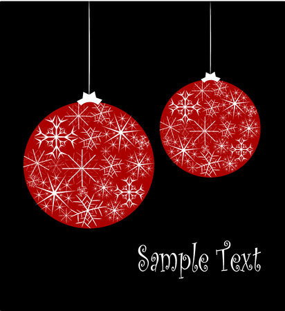 Christmas card with red glass balls with snowflake pattern over black background. Stock Vector - 7829835
