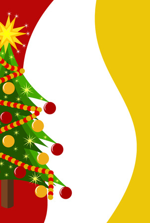 ball and chain: Christmas background with decorated Christmas tree and copyspace Illustration