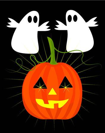thrilling: Halloween ghosts and jacko latern pumpkin vector illustration