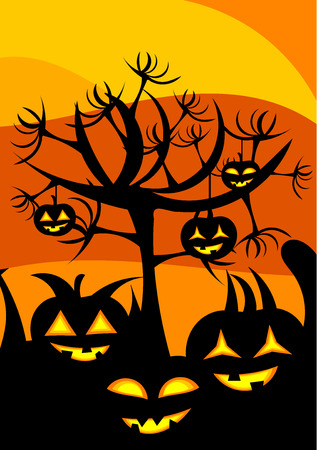 Halloween landscape with pumpkin lanterns and scary tree with hands Vector