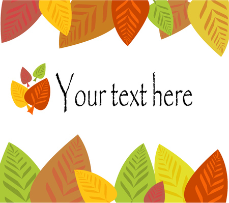 Colorful autumnal frame made of leaves with text place Stock Vector - 7829834