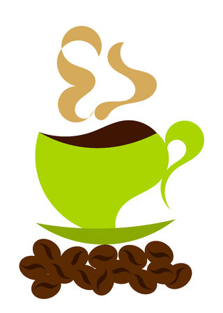 Steaming coffee in green coffee cup and whole beans in cartoon style Vector