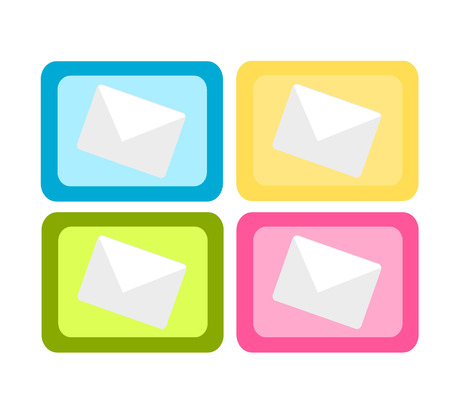 Set of four colorful mail icons Stock Vector - 7829821