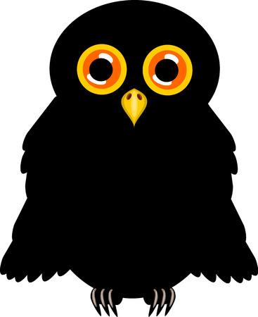 black beak: Black halloween owl with orange shining eyes vector illustration