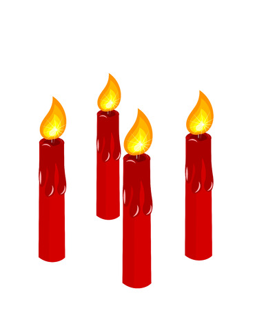 Four red burning candles vector illustration. Advent time before Christmas Vector