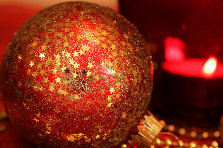 Macro of red star ornamented glass ball - Christmas time Stock Photo - 7953098