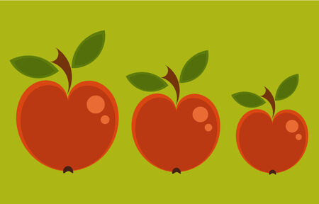 Three red apples in various sizes - vintage background Illustration