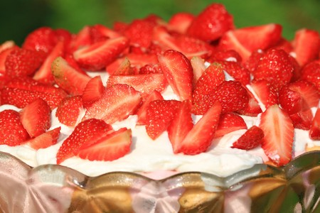 Closeup of strawberry dessert with whipped cream in glass bowl Stock Photo - 7953208