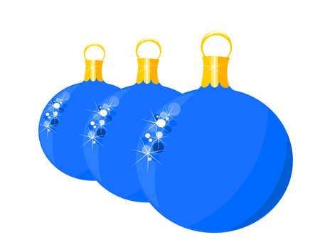 Three blue Christmas glass balls over white. Vector