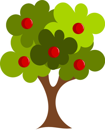 apple orchard: Big tree with red fruits Illustration