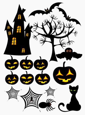 Set of halloween design elements Vector
