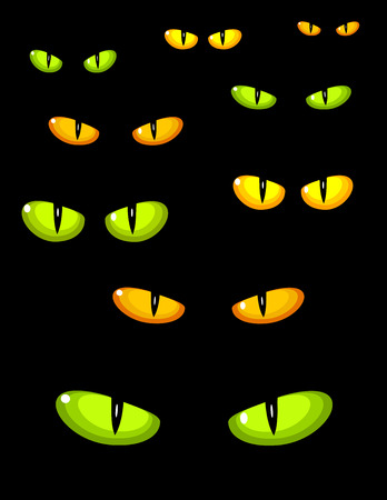 glowing skin: A lot of dangerous green and yellow wild cat eyes in darkness
