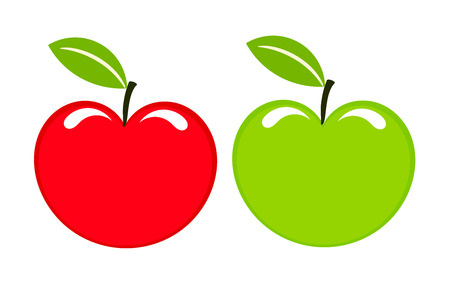 apple clipart: Two sweet apples icons red and green.  illustration