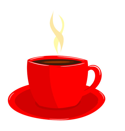 cup and saucer: Steaming coffee in red cup illustration Illustration