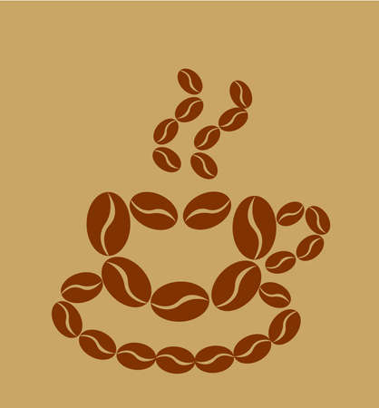 Coffee cup made of coffee beans Vector