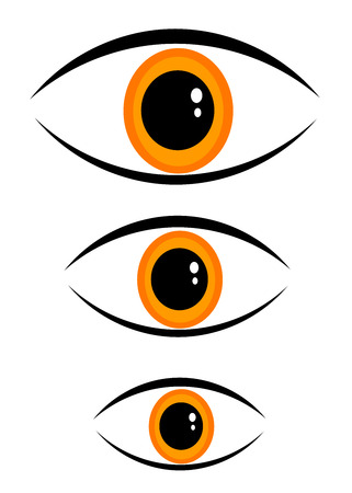 Three orange eyes in different sizes Stock Vector - 8069064