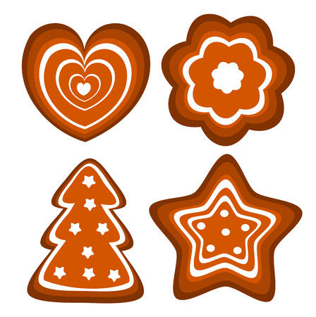 Set of Christmas gingerbread cookies illustration
