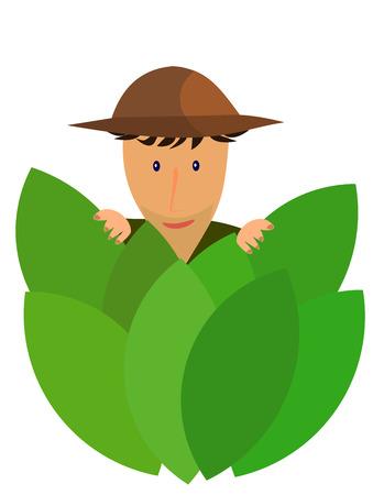 An explorer hidden behind jungle leaves