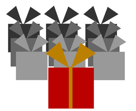 depository: Christmas presents collection in depository illustration