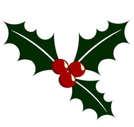 holly leaves: Holly berry illustration. Symbol of Christmas Stock Photo