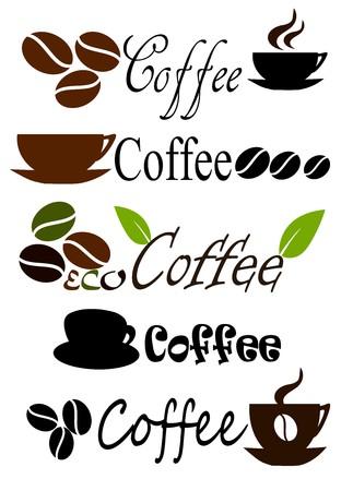 cafe bar: Set of coffee label designs. illustration