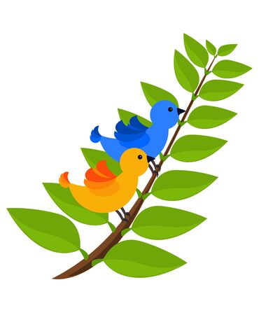 Two colorful exotic birds sitting on green branch of tree. Spring love photo