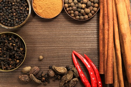 Frame made of many kinds of spices. Rustic style Stock Photo - 8255310