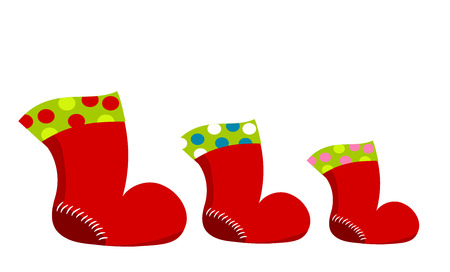 santaclause: Red Christmas Santa boots in three sizes. illustration Illustration