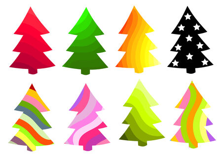 Set of Christmas trees in various colors. illustration Vector