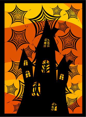 Old dark castle behind spider webs. Scary halloween background Vector