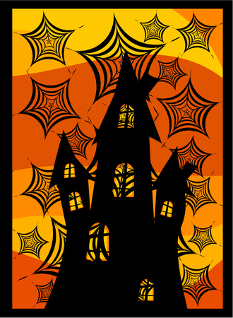 spider webs: Old dark castle behind spider webs. Scary halloween background Illustration