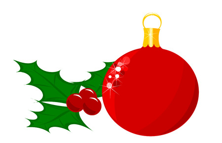 Christmas glass ball and holly berry fruits and leaves Vector