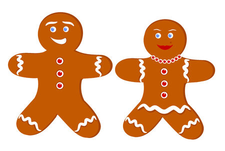 gingerbread cookie: Gingerbread man and woman. Illustration of couple of cookies