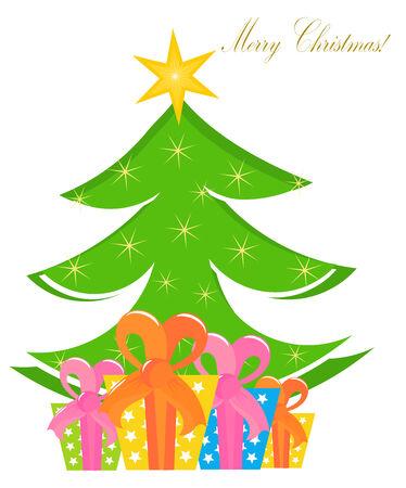 Christmas presents under the Christmas tree. illustration Vector