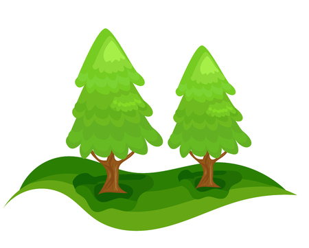 stylistic embellishments: Two green spruce trees in forest. Christmas tree
