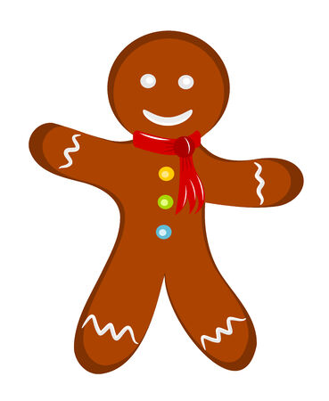 gingerbread: Happy cheerful gingerbread man with red scarf. Christmas illustration