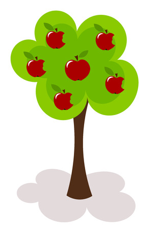 Apple tree with  bitten apples.  Vector