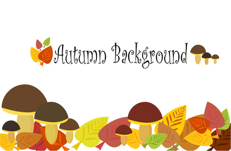 Autumnal background with mushrooms and leaves Stock Vector - 8255384