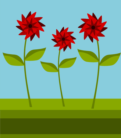 Three red flowers on the meadow Vector