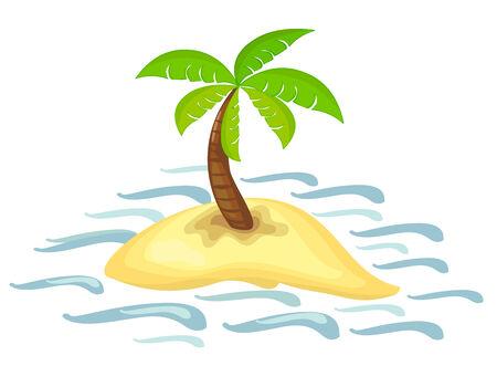 frond: illustration of isolated palm tree on desert island